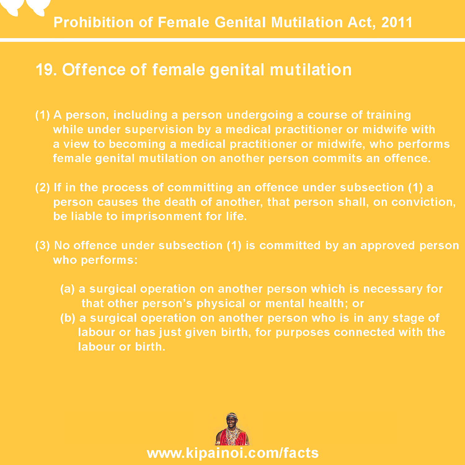 19. Offence of female genital mutilation