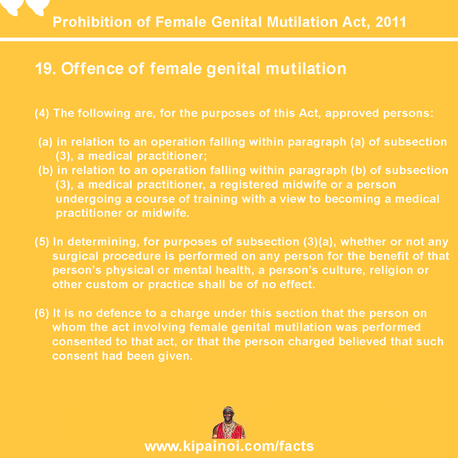19.1 Offence of female genital mutilation