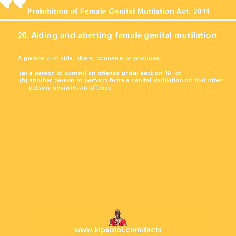 20. Aiding and abetting female genital mutilation