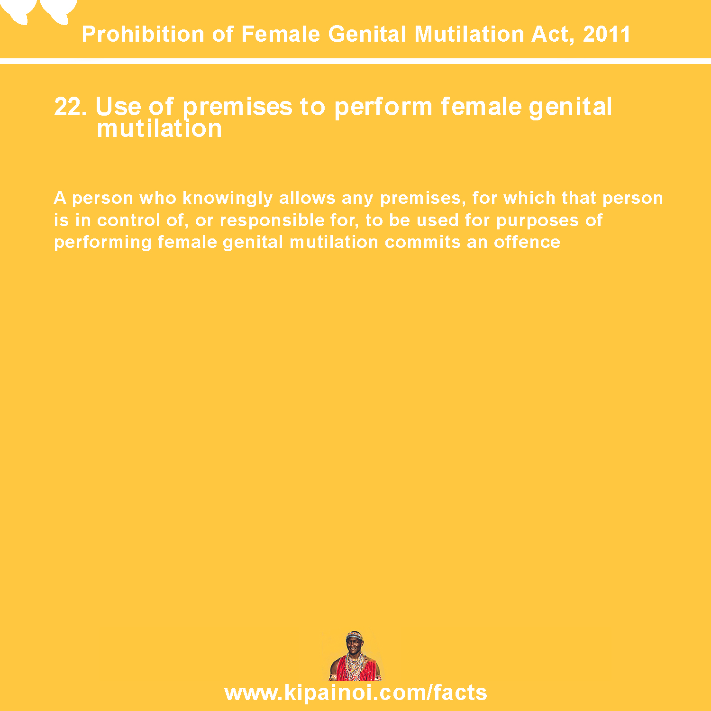 22. Use of premises to perform female genital mutilation